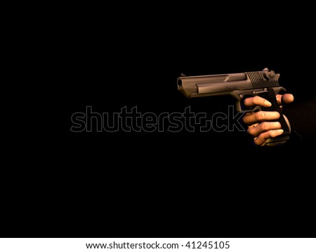 A hand holding a gun - stock photo