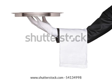 A hand holding a silver tray isolated on white background