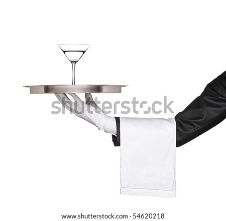A hand holding a silver tray with a cocktail martini on it isolated on white background