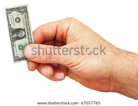 a hand holding a tiny dollar bill showing the weakening of the US dollar due to inflation