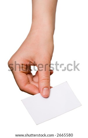 A hand holding an empty business card