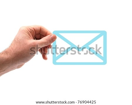 A hand holding an envelope isolated against a white background