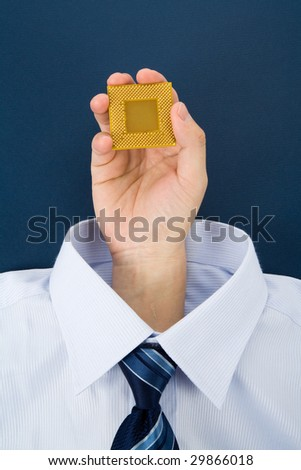 a hand holding CPU, Business Concept