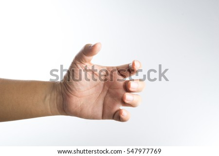 Shutterstock A hand holding something like a bottle on white background