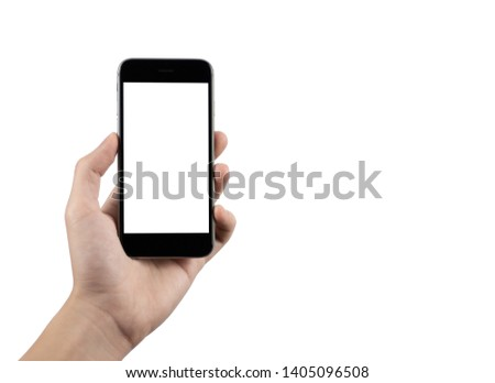 A hand holding the black smartphone with blank screen for your text or content, isolated image on white background #1405096508