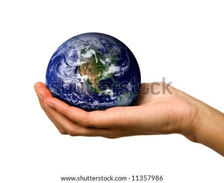 A hand holding the world safe