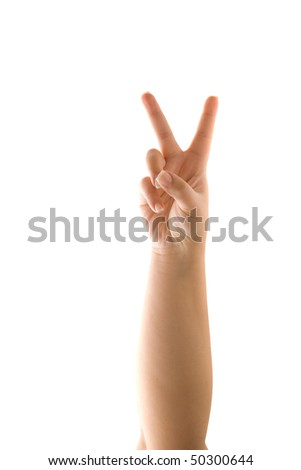 A hand holding up the peace sign or number two with two fingers isolated over white.