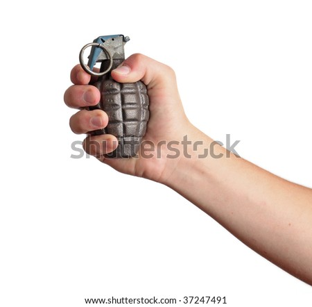 A hand holds a grenade, isolated on white.