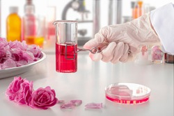A hand in a glove holding a clip with a test tube in up-to-date perfume laboratory. Background blurred