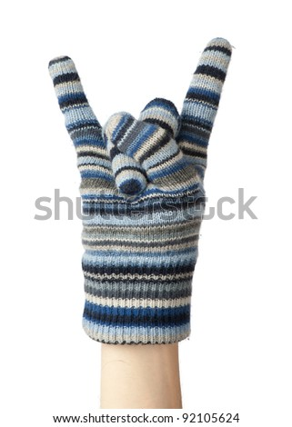 A Hand in a mitten making a Sign