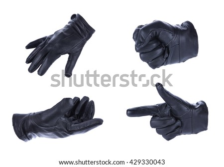 A hand in black leather glove making a shooting gesturing, isolated on white background Stock photo ©