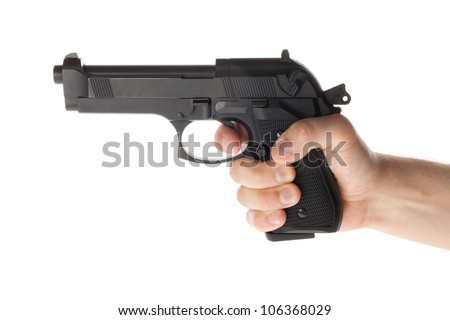 A hand is holding a gun
