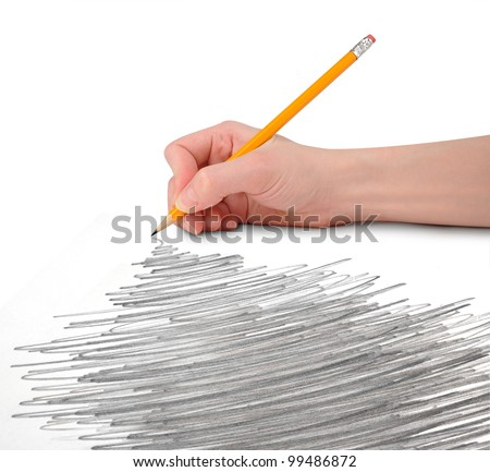 A hand is holding a pencil with a large scribble texture perspective. There is a white, isolated background. Add your text to the copyspace above or in the doodle drawing.