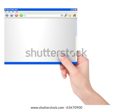 A hand is holding an internet ethnology website template on a white, isolated background. There are browser buttons. Use it for an advertisement for a business or communication message.