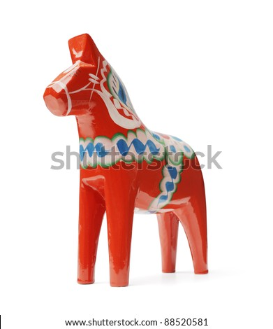 "A Hand-made traditional wooden Dalecarlian Horse (""Dalahast"") is a symbol of Swedish Dalarna and Sweden in general."