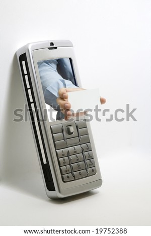A hand of a man reaches out of a cellphone