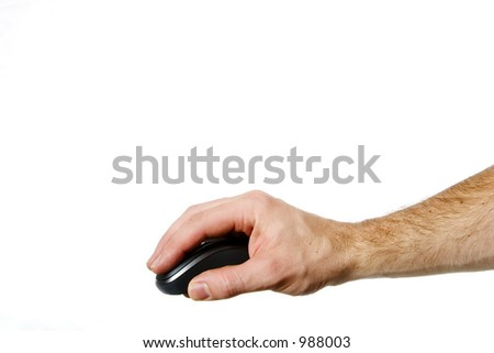 A hand on a computer mouse isolated on white with clipping path.