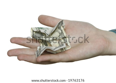 A hand on a pure white background holding a cumpled fifty dollar bill.