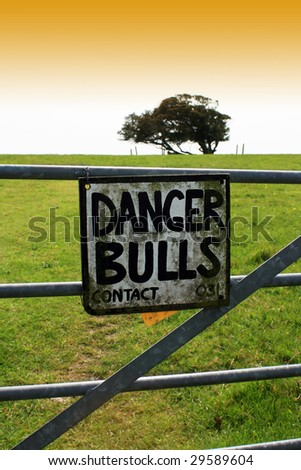 A hand painted metal sign warning of the danger of bulls in a field. Sign wired to a metal constructed gate with green field and trees to horizon.