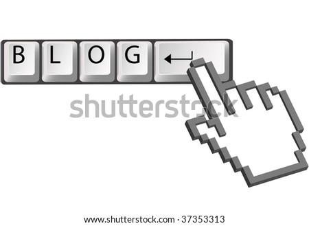 A hand pixel cursor clicks on computer keyboard Enter key to blog.