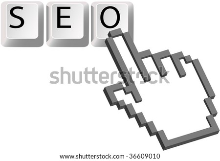 A Hand pixel cursor clicks on the SEO keys for a Search Engine Optimized search.