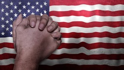 A hand praying with Flag of USA as background. Grunge, depressing look. Can represent adversity, crisis, Christian or Catholic prayer, forgiveness, worship or plea in country. 3d illustration