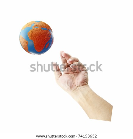 A hand reaching out to a globe with the African continent isolated against white background.