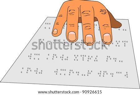 A hand reading braille from a sheet of paper