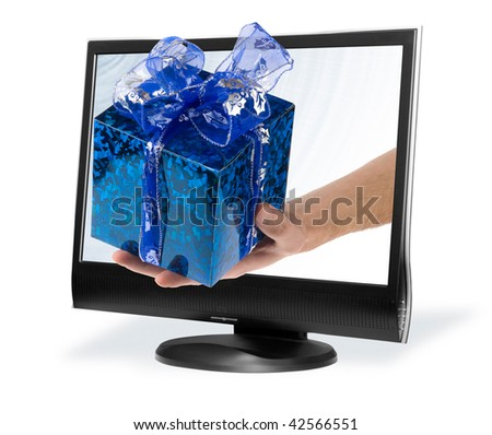 a hand stretches a Gift box through a computer screen