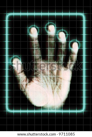 a hand touching a grid screen as concept for identity scan