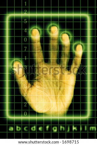 a hand touching a grid screen with binary numbers and letters as concept for digital identity security