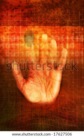 a hand touching a grid screen with fingerprint as concept for identity scan
