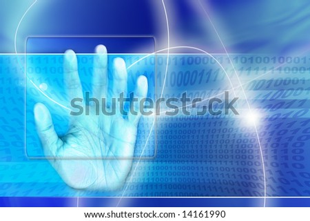 a hand touching a screen as concept for digital identity scan - stock photo