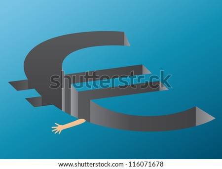 A hand trying to hold on to the euro cliff - representing the euro crisis - stock photo