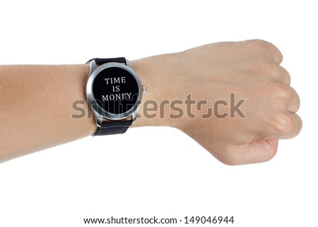 A hand wearing a black wrist watch. Time is money concept