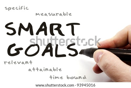 A hand writing Smart Goals with a black pen with the words specific, measurable, relevant, attainable, and time bound written in the background.