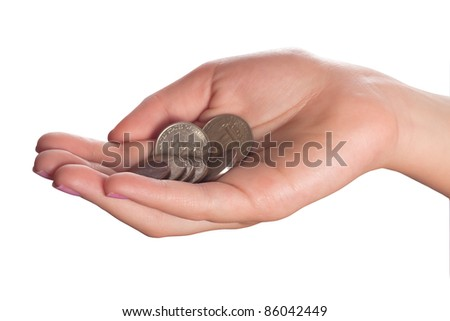 A handful of coins in the palm of a hand