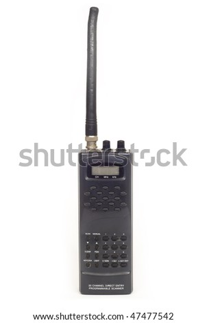 a handheld 2-way radio isolated on white background