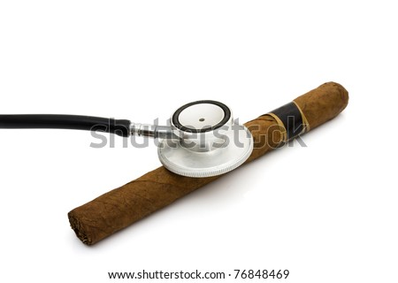 A handmade cigar with a stethoscope isolated on a white background, Health risks of smoking