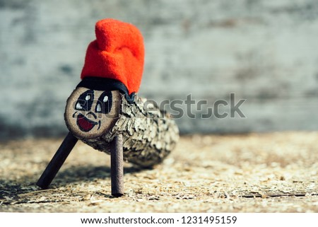 a handmade tio de nadal, a typical christmas character of catalonia, spain, with some blank space on the right Zdjęcia stock ©
