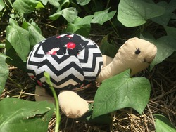 A handmade turtle in the ground surrounding with green grass in the sunny day, the turtle made by lovely mother