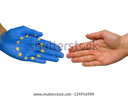a handshake between two hands, one painted with the european flag