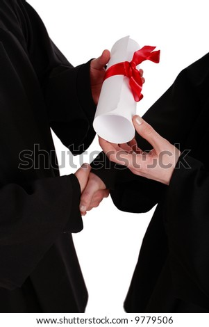 A handshake, presentation with diploma. Graduation. Education background.