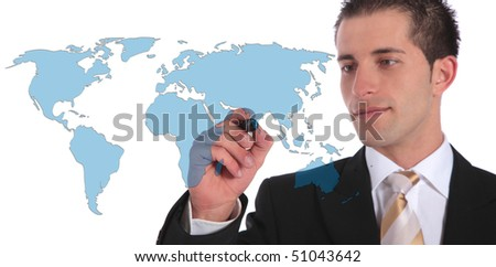 A handsome businessman presenting concepts of global market expansion. All on white background.