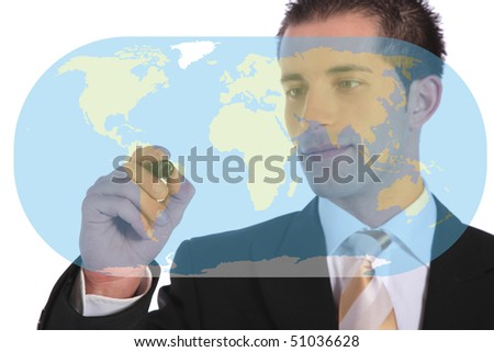 A handsome businessman presenting concepts of market expansion. All on white background.
