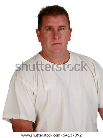 a handsome clean cut man in a white t-shirt isolated on white