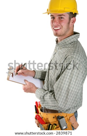 A handsome contruction worker taking noted isolated over white