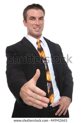 A handsome man coach with a basketball sport tie offering handshake