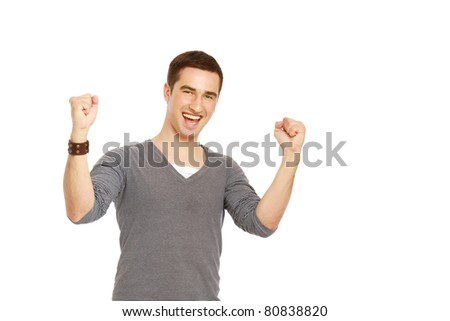 A handsome man showing yes expression on white background - stock photo