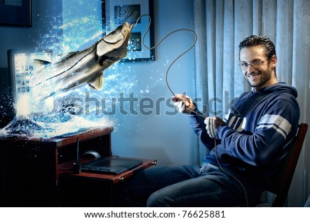 A handsome man sitting at the computer fishing a big fish on the lcd screen. This image is a digitally enahnced portrait enriched with details given by real photographs and hand/painted elements